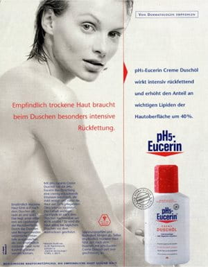 Реклама в прессе масла для душа Eucerin pH5 Shower Oil 1995 года